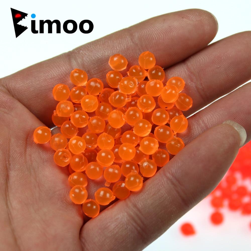 Bimoo 50pcs/bag 4mm Realistic Salmon Fish Egg Fly For Treble Hook Bait UV Glow Pink Orange Red