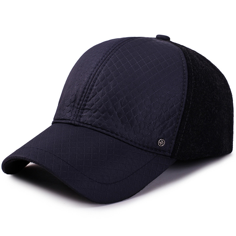 UNIKEVOW New arrivel M logo Sport winter baseball caps with ears Casual winter hat warm caps for men golf hat in Men 39 s Baseball Caps from Apparel Accessories