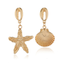 Simple smooth shells exaggerated earrings women personalized three-dimensional starfish marine series gold asymmetri
