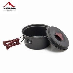 Image 3 - Widesea 1 2 人キャンプ食器屋外調理器具ピクニックセット旅行食器ノンスティック鍋フライパンボウルハイキング道具