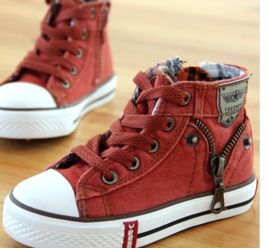 14 kinds New Arrived Size 25-37 Children Shoes Kids Canvas Sneakers Boys Jeans Flats Girls Boots Denim Side Zipper Shoes 2