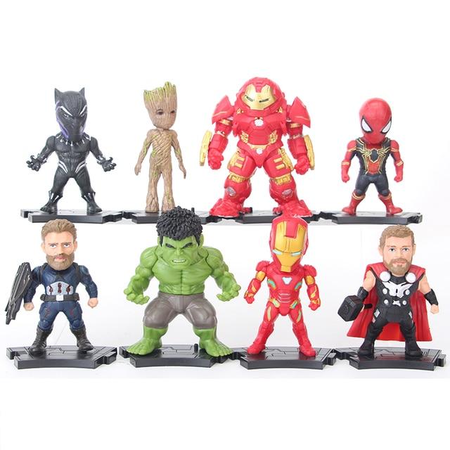 8 pçs/set Infinito Superhero Guerra Figuras de Ação Vingadores Homem De Ferro Hulk Thor Capitão América Modelo de PVC Para Brinquedos de Presente # E