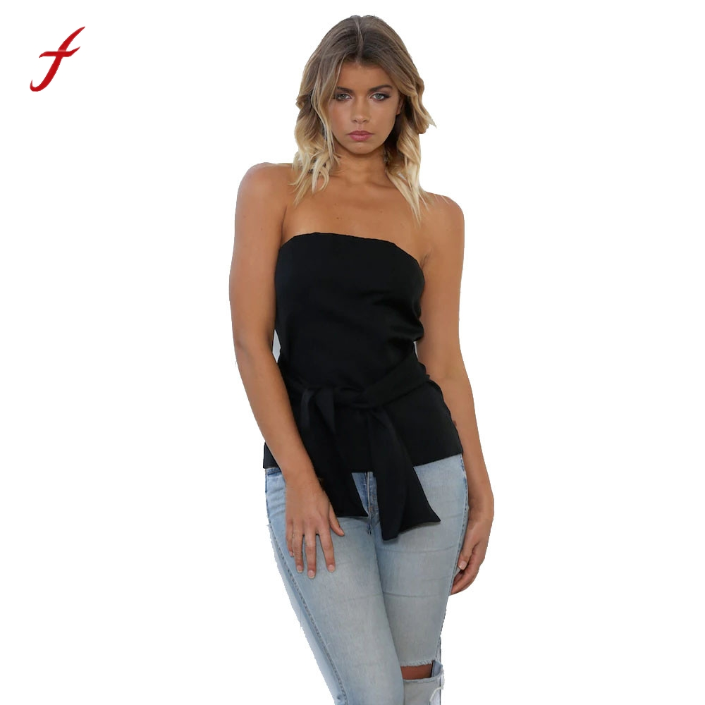 7602d085fe1 Feitong Women Sexy Strapless Blouse Summer Fashion Sleeveless Off Shoulder  Bandage Blouse Casual Shirt Tops Blusas