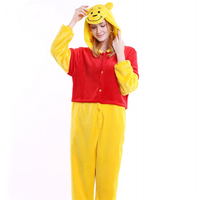 Autumn Winter Bear Pyjama Femme Flannel Couples Animal Pajamas One Piece Cartoon Women Sleepwear Cheap Adult