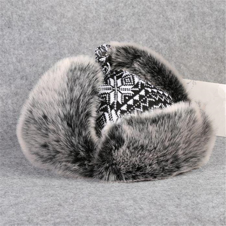 Image 5 - BUTTERMERE Russian Fur Hat Ushanka Black White Bomber Hats Male Female Ear Flaps Winter Thick Warm Knitting Outdoor Trapper HatMens Bomber Hats   -