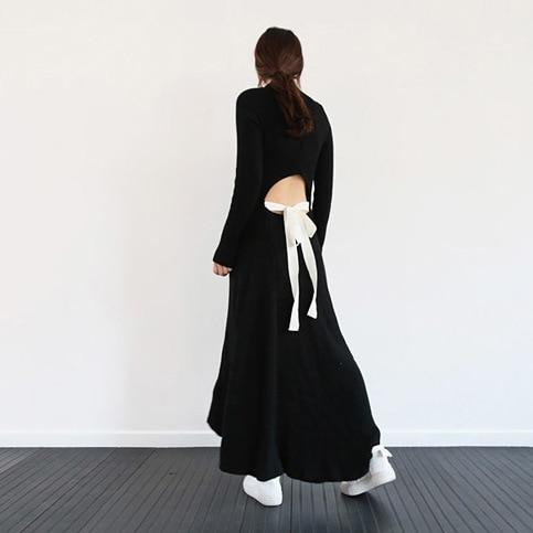 e528f1814d Coréia Moda Mulheres Sexy Vestido Longo De Malha de Volta Oco Fora Blusas  Vestido de Lã Longo De Malha Vestido de Inverno em Vestidos de Roupas das  mulheres ...