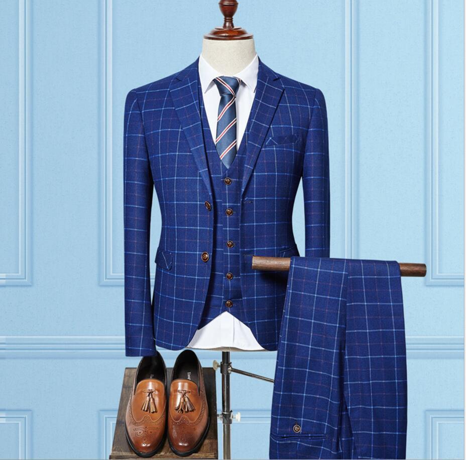 British Style Blue Plaid Men Suits Two Button Wedding Groom Tuxedos Men Bussiness Blazer Suits 2017(jacket+pant+vest)