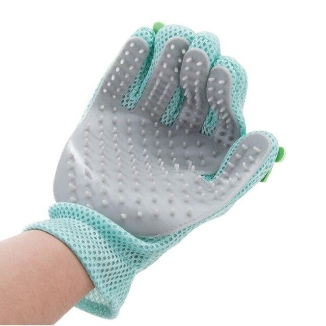 Mascota de silicona guante pelo peine Pet Grooming limpieza guante mano depilación promover la circulación de la sangre