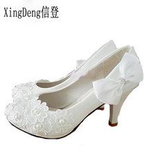 6e2abb656 Novas Mulheres Sexy Flor Do Laço Bombas Dos Saltos Altos Sapatos de  Casamento Branco Pérola Saltos