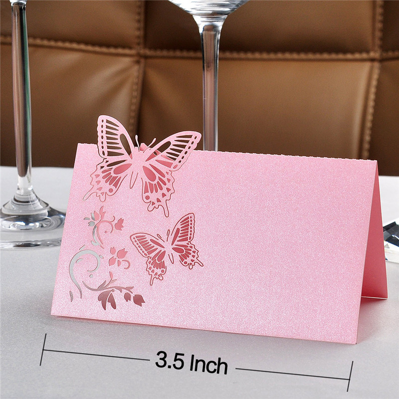 buy 3535inch white paper laser cut butterfly 12pcs souvenirs invitations wedding seats card table card for wedding favors decor from