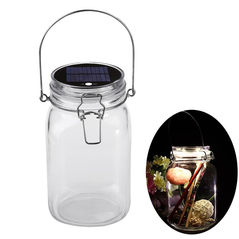 Romantic LED Glass Storage Jar Solar Powered Seal Jar for Tea Leaf Flower Sealing 680ml glass storage jar purple