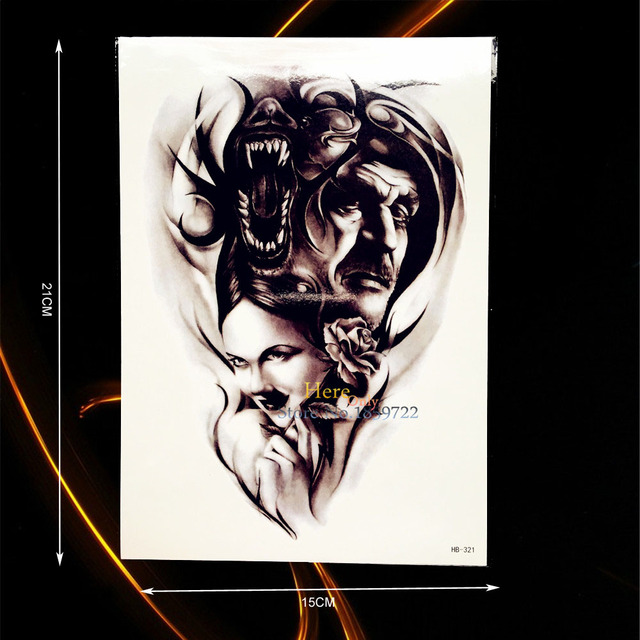 Cool Body Arm Sleeve Art Temporary Tattoo Evil Personv Demon Devil