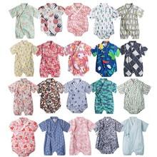 559fffd92 Kimono baby clothes japanese style kids clothes girls romper retro bathrobe  uniform clothes infants pajamas floral