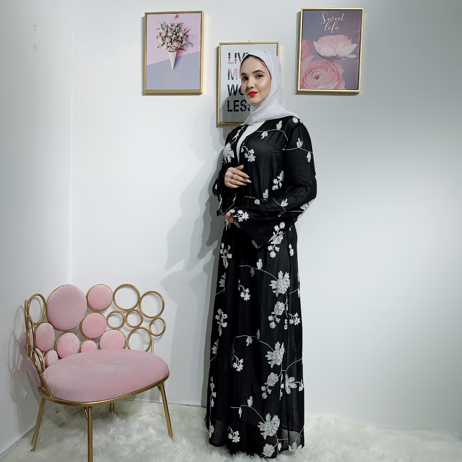 Dubaï Abaya femmes musulmanes Robe Caftan Kimono Bangladesh Robe Musulmane vêtements islamiques Caftan Marocain Robe des émirats arabes unis Robe d'impression
