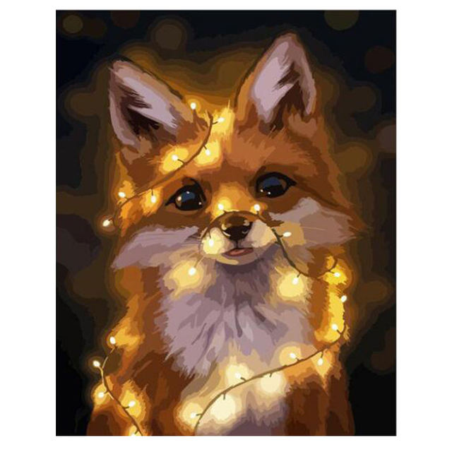RIHE Lighted Fox DIY Painting By Numbers Drawing Coloring By Numbers Kits Paint On Canvas For Home Wall Art Picture 16x20inch