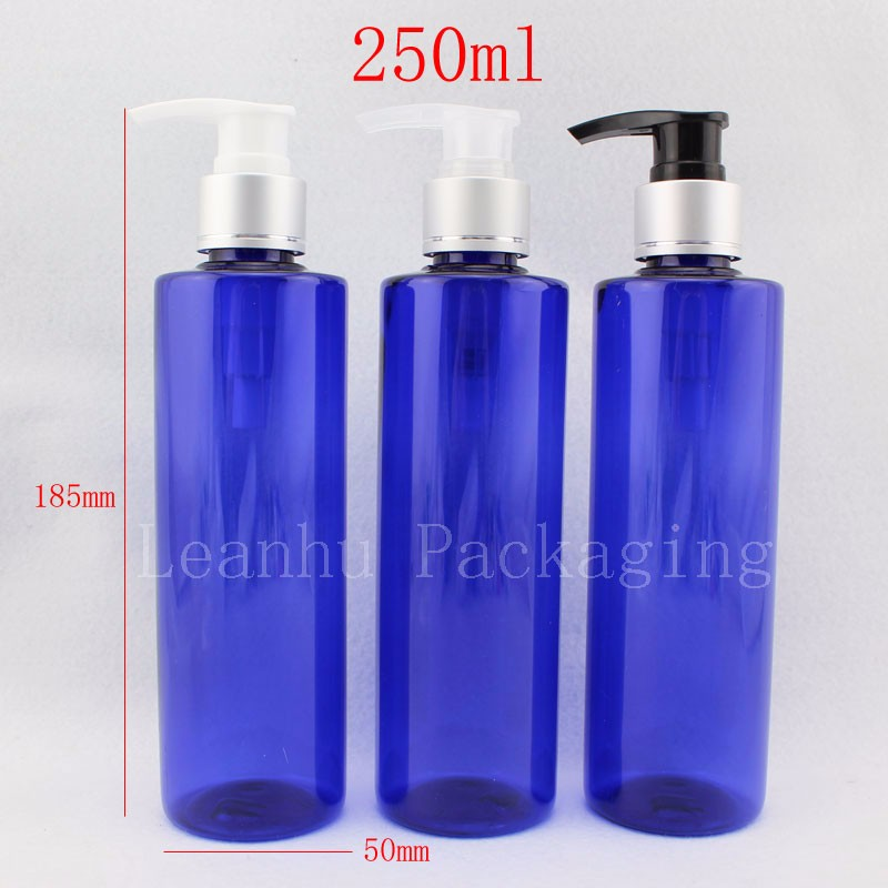 250ml-blue-bottles-with-silver-lotion-pump