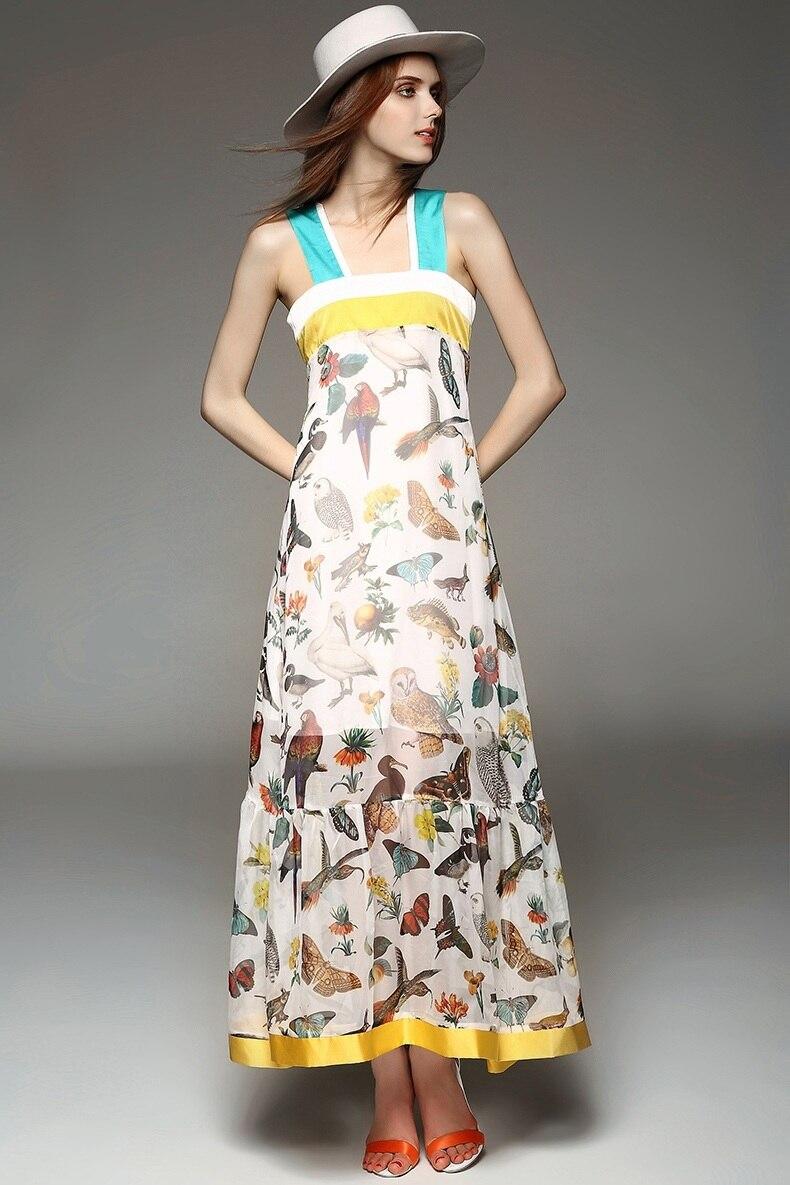 Summer Women S Fashion Plants And Animals Color Block Print Ruffle Hem Silk One Piece Dress Maxi 2017 Sleeveless Chiffon In Dresses From