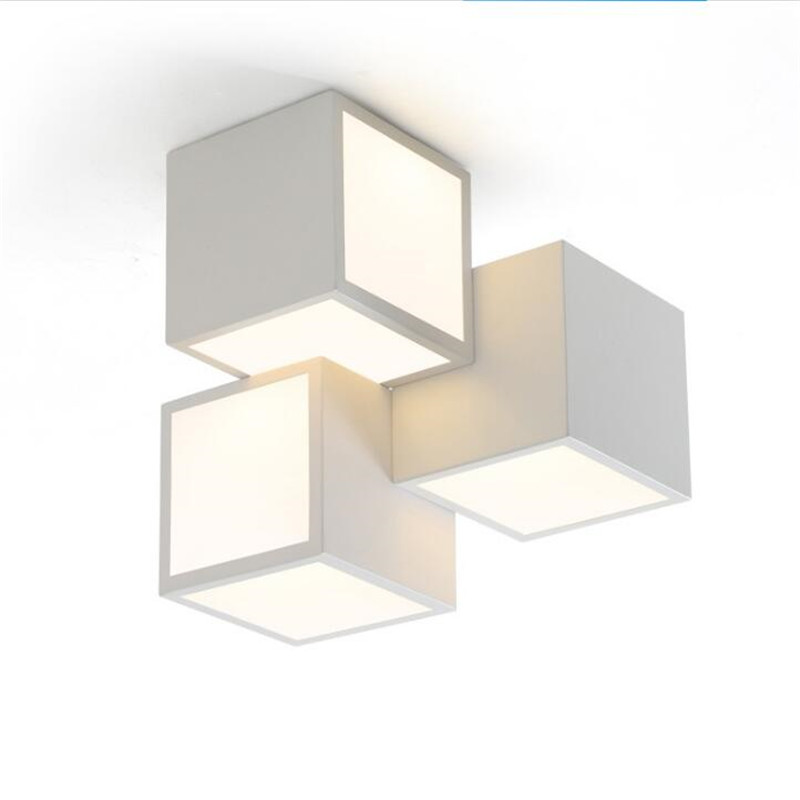 Ceiling Lights & Fans Inventive Modern Geometric Box 3d Diy Ceiling Light For Bedroom Foyer Iron Acrylic Cube Combination Illuminare Lighting Fixture 2399 Ceiling Lights