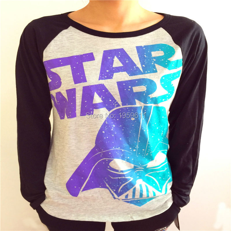 Star wars darth vader womens black white long sleeve logo for Long sleeve t shirt printing