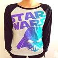 Star Wars Darth Vader Womens Black White manga comprida Logo imprimir camiseta mulheres completa mangas roupa impresso t-shirt tamanho grande camisas