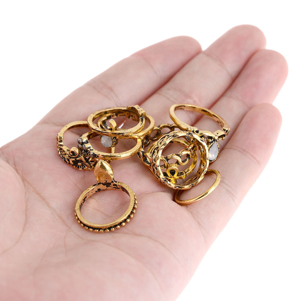 10pcs Punk Vintage Knuckle Rings Tribal Ethnic Hippie Stone Joint ...