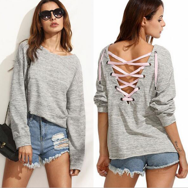 bb5478ba4f4 Casual Women T Shirt Tops Pullovers Deep V Type Back Tee Shirts Autumn Winter  Long Sleeve Fashion Ladies Top Size