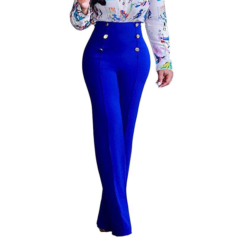 Splice Button   Wide     Leg     Pants   Woman Trousers 2019 Women Plus Size High Waist Elastic Waist   Pants