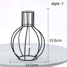 Wrought Iron Vase Geometric Glass Hydroponic Plant Container Home Decoration Hot Sale