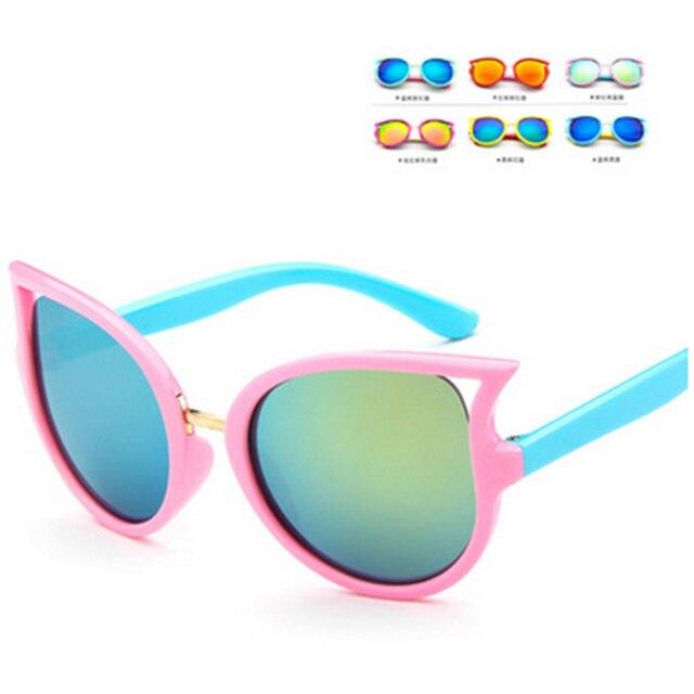 be353b3f1 Olho de gato óculos de Sol Óculos de Sol Do Bebê da Criança Infantil Óculos  Flexíveis