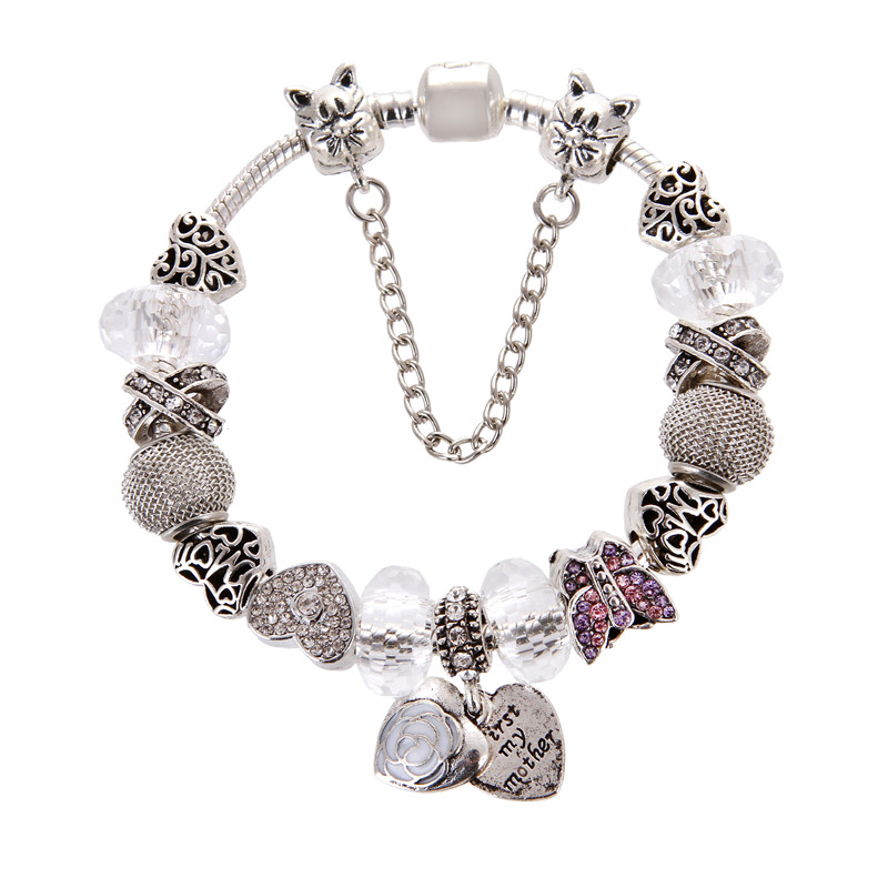 Silver plated Heart pendant White crystal butterfly Charms Noble Fashion Elegant Pandora Bracelet For Women/Gril gift jewelry