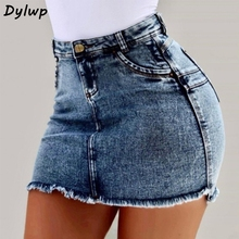 Women Pencil Jean Skirts 2019 Summer 3XL Large Size Pocket Mini Denim Short Skirt Ladies Solid Casual High Waist Bodycon