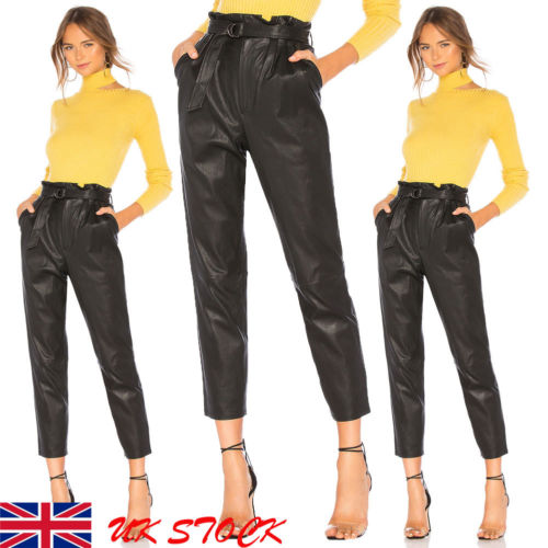 US Women Lady Leather High Waist Jegging Stretch Pant With Pockets Belt Trouser