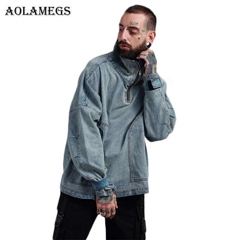 Aolamegs デニムジャケット男性吊り肩特大カウボーイカジュアルメンズジャケットハイストリートファッションスタンド襟生き抜く男性コート