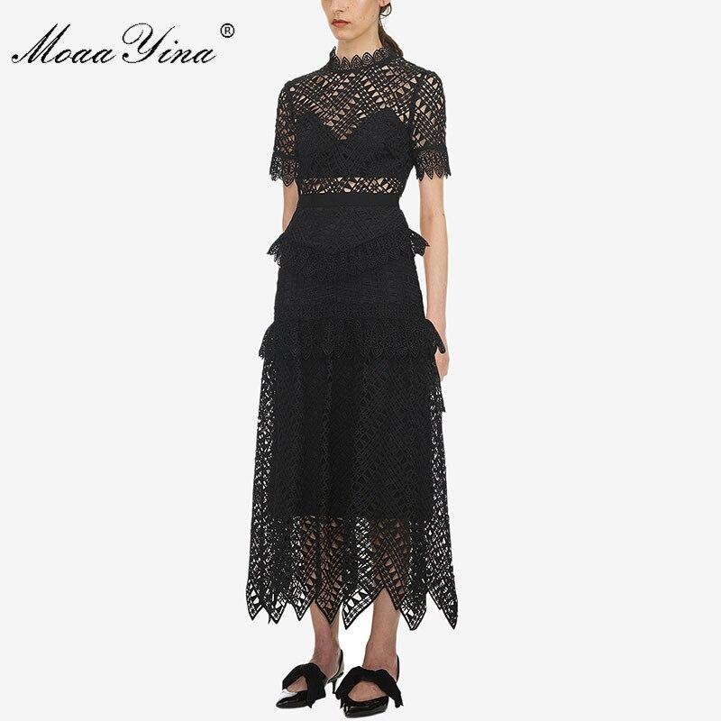 MoaaYina Primavera Verano nuevo llegan mujeres de encaje negro Vestido de manga corta de alta calidad-in Vestidos from Ropa de mujer    2