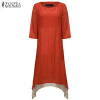ZANZEA 2016 Boho Style Summer Women Vintage Loose O Neck Long Maxi Dress Solid 3 4