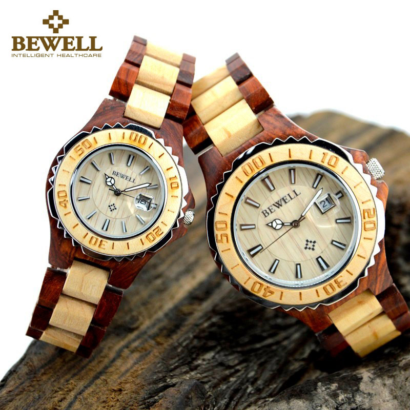 BEWELL 100B Couple Wooden Quartz Watch Men And Women Handmade Lightweight Date Display Fashion Watches Gift Box And Watch Tools