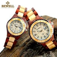 BEWELL 100B para drewniany zegarek kwarcowy mężczyźni i kobiety ręcznie lekkie wyświetlanie daty modne zegarki pudełko i narzędzia do zegarków w Zegarki dla zakochanych od Zegarki na