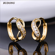 BUDONG Twist Cross Circle Hoop Infinity Earrings Silver Gold Color Earring for Women Crystal Zirconia Engagement