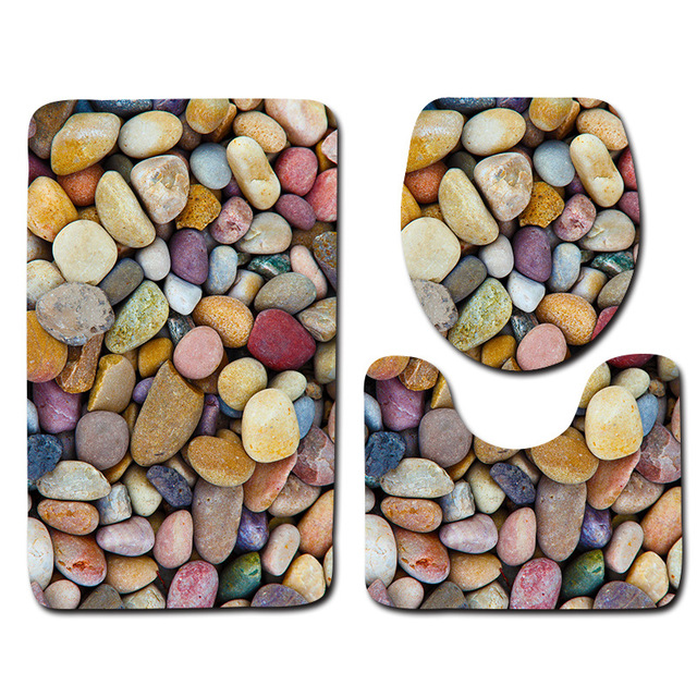 Colored Pebble Bathroom Floor Mat Toilet Cover 3Pcs Bath Mat Set Water Absorbent and Antiskid Bath Rug Non-slip Bath Carpet