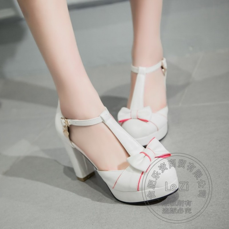 Platforms Lolita 2016 Round Toe Buckle Strap Pu Cute Pantshoes Soft Leather High Heels Shoes Pu