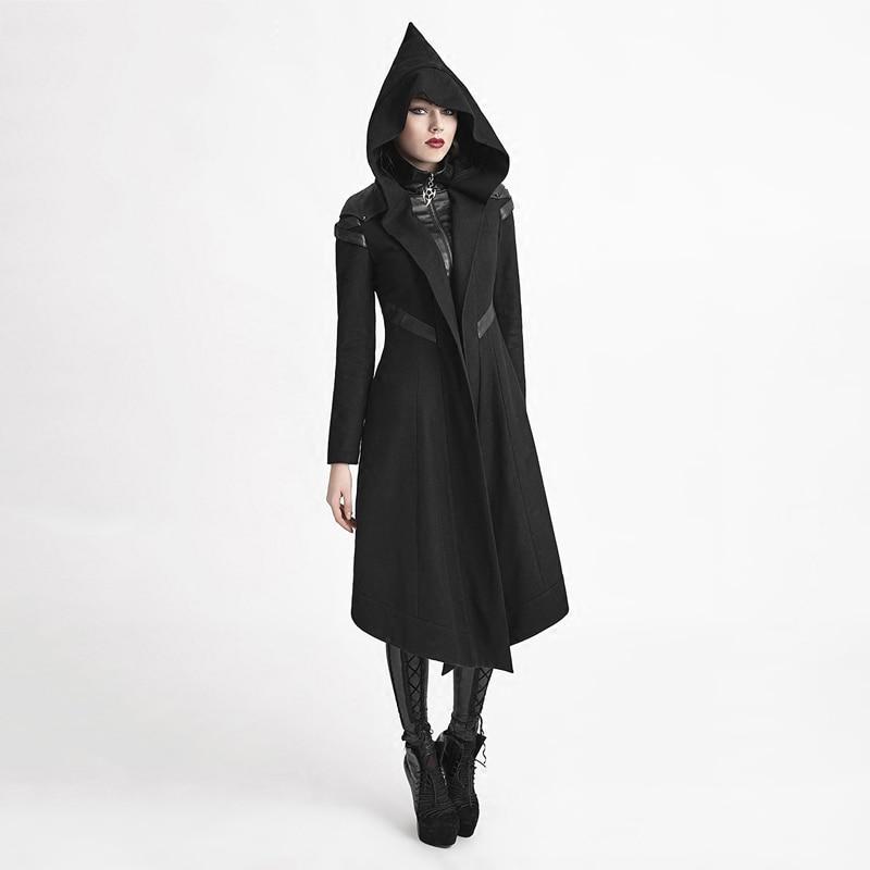 Manteau à capuche en tissu de laine Punk pour femmes Steampunk gothique nouvelle mode noir Long veste manteaux d'hiver