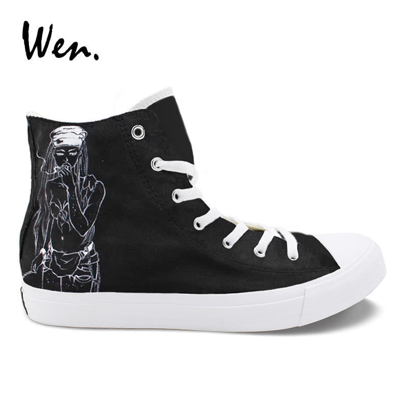 Wen Hand Painted Men Shoes Death Grips Design Custom High Top Women's Casual Canvas Sneakers for Boys Girls Christmas Gifts wen original high top sneakers steam punk hand painted unisex canvas shoes design custom boys girls athletic shoes gifts
