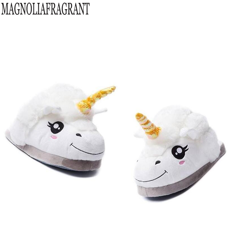 2018 NEW Slippers Winter lovely Home Slippers Cartoon Plush Chausson Licorne White Shoes Women Unicorn shoes Cotton slippers k71 дрель шуруповерт bort bab 14ux2li fdk