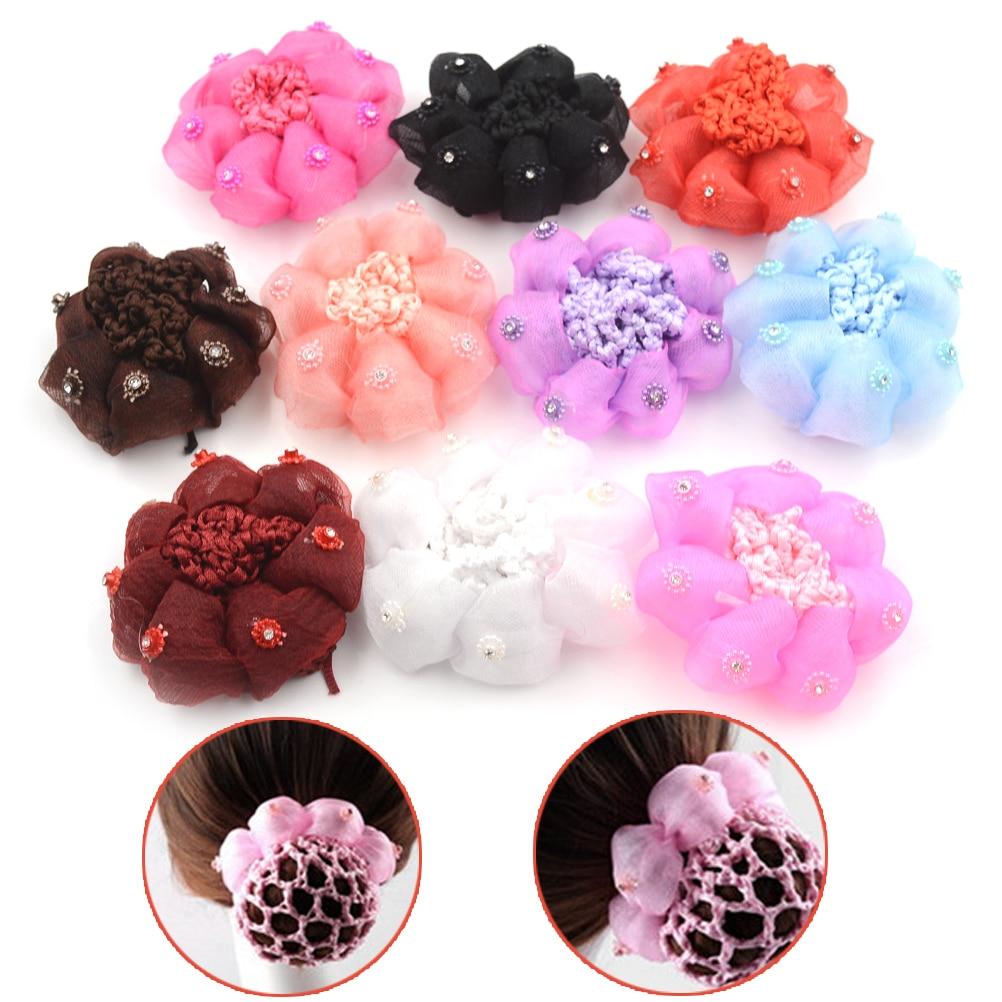 10 Colors 1Pc Hair Net Girls Bun Cover Snood Hair Net Sleep Ballet Dance Skating Crochet Decor Gift  Hair Style Accessories