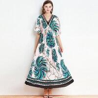 Elegant Designer Dresses Women Half Flare Sleeve 2017 Summer Fashion V-neck Vintage Pleated Topshop Floral Print Long Dress