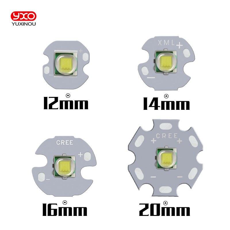 1 PCS CREE XML T6 XM-L LED U2 10 W BRANCO de Alta Power LED Emissor com 12mm 14mm 16mm 20mm PCB para DIY