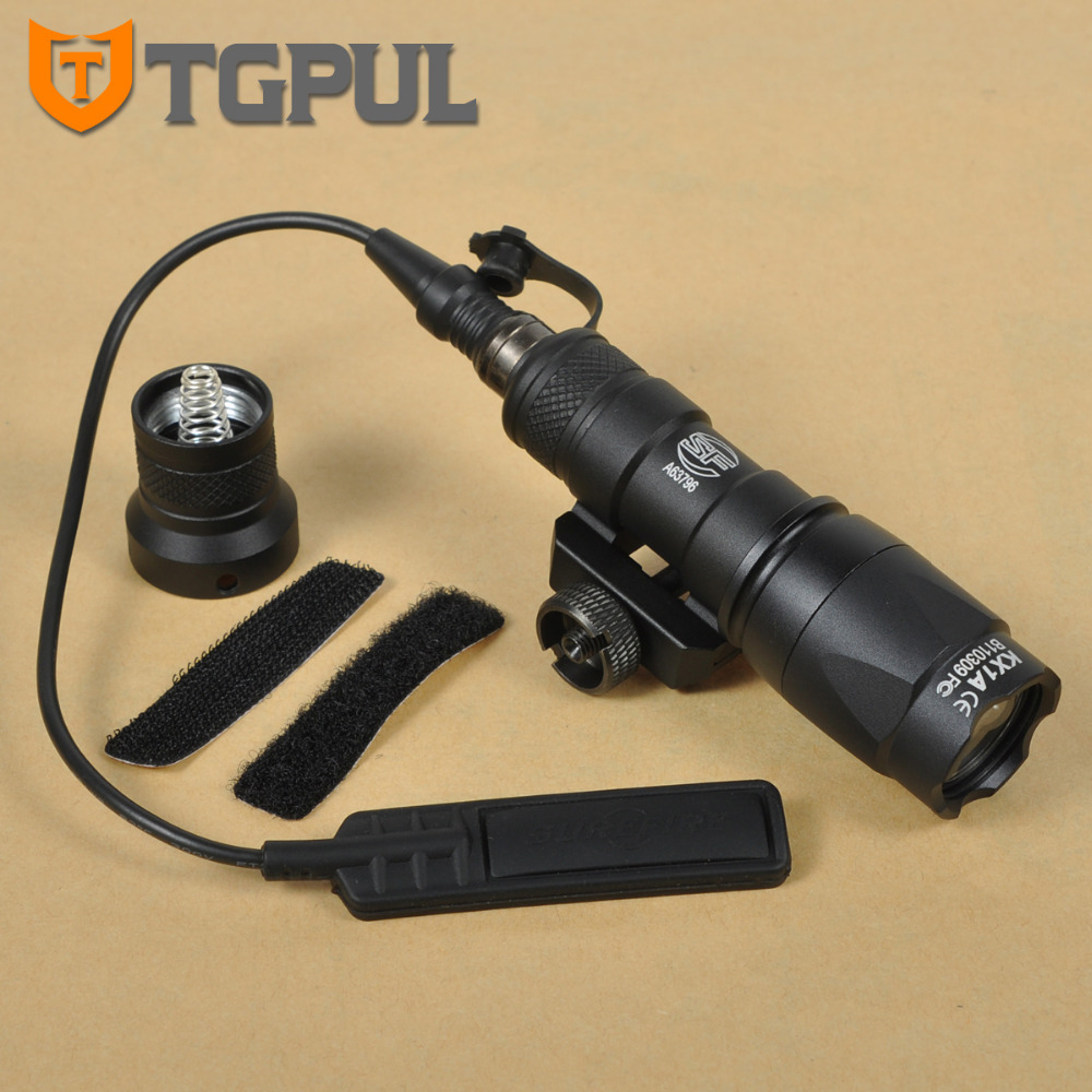 TGPUL Tactical M300C Scout Light Rifle Rail LED Flashlight Constant Momentary Output Hunting Spotlight Weaver Picatinny Mount greenbase sf tactical m300v ir scout light weaponlight white and led ir flashlight constant momentary output 20mm rail