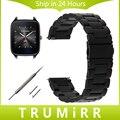 22mm faixa de relógio de aço inoxidável + pinos de liberação rápida para asus ZenWatch 1 2 Homens WI500Q WI501Q Cinta Wirst Pulseira Preta de Prata