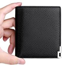 WilliamPOLO Slim Wallet Men's Genuine Leather Cards Money Holder Mini Ultrathin Short Saffiano/Litchi grain ID/Credit Cards(China)