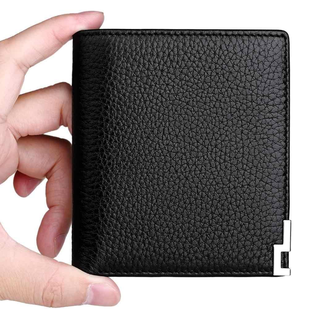 WilliamPOLO Slim Wallet Men's Genuine Leather Cards Money Holder Mini Ultrathin Short Saffiano/Litchi grain ID/Credit Cards